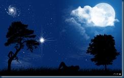 donna nuda notte luna